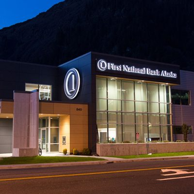 First National Bank of Alaska exterior lighting